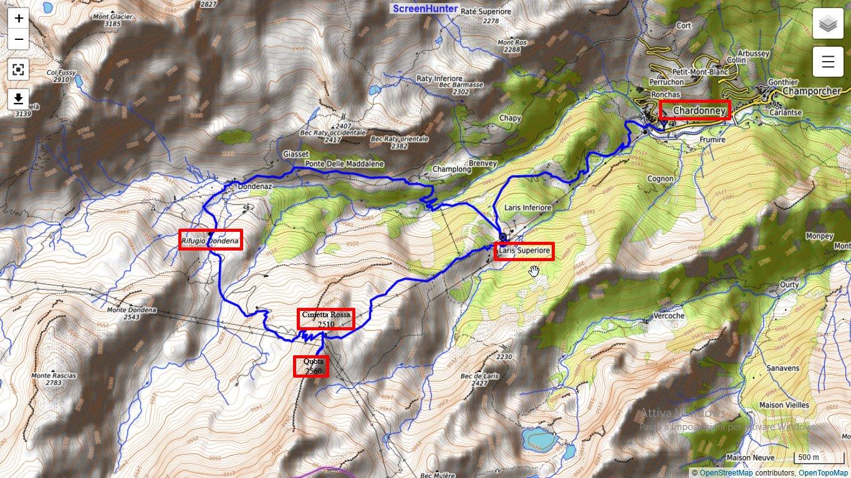 L'itinerario con partenza da Laris, raggiunta in funivia
