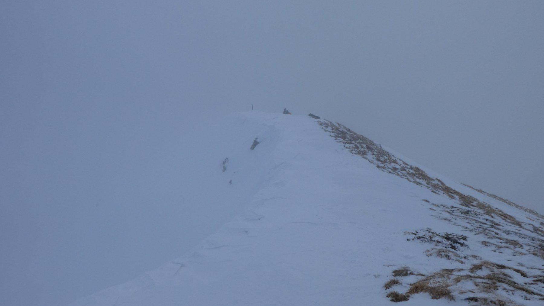 arrivando in vetta al Monte Sillano tra la nebbia purtroppo