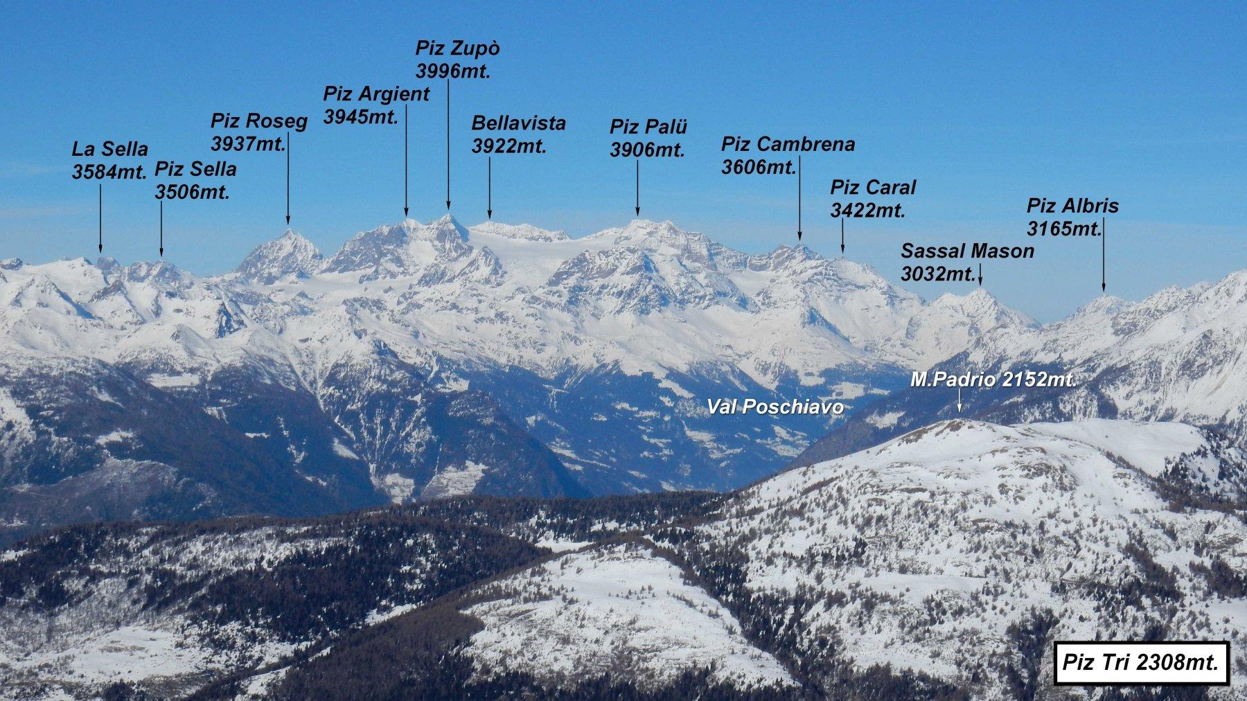 Panorama dal Piz Tri sul Gruppo Bernina. La cima del Piz Bernina però è oscurata dal Piz Zupò.