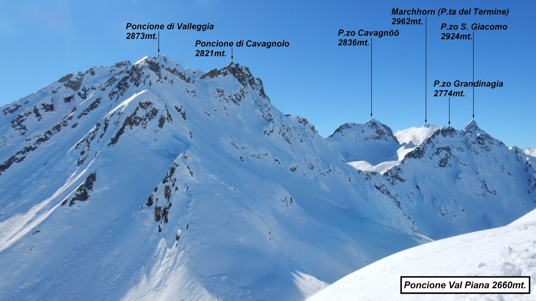 Panorama dalla vetta del Poncione Val piana.