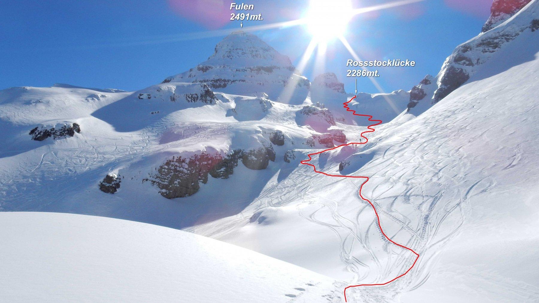 In rosso la traccia di salita verso la Rossstocklücke.