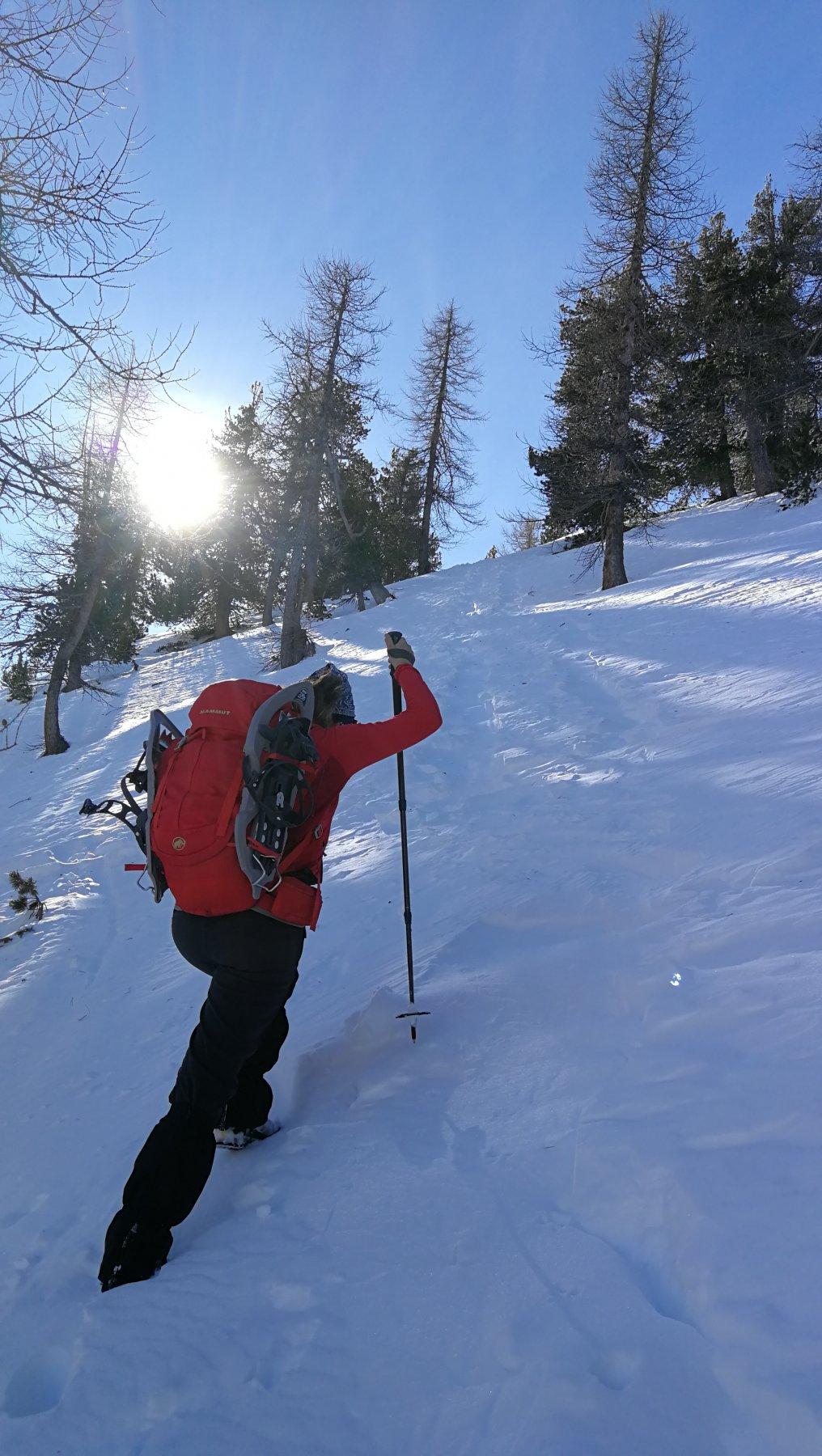 Tratto di neve difficile salendo a Pointe de Muletiere