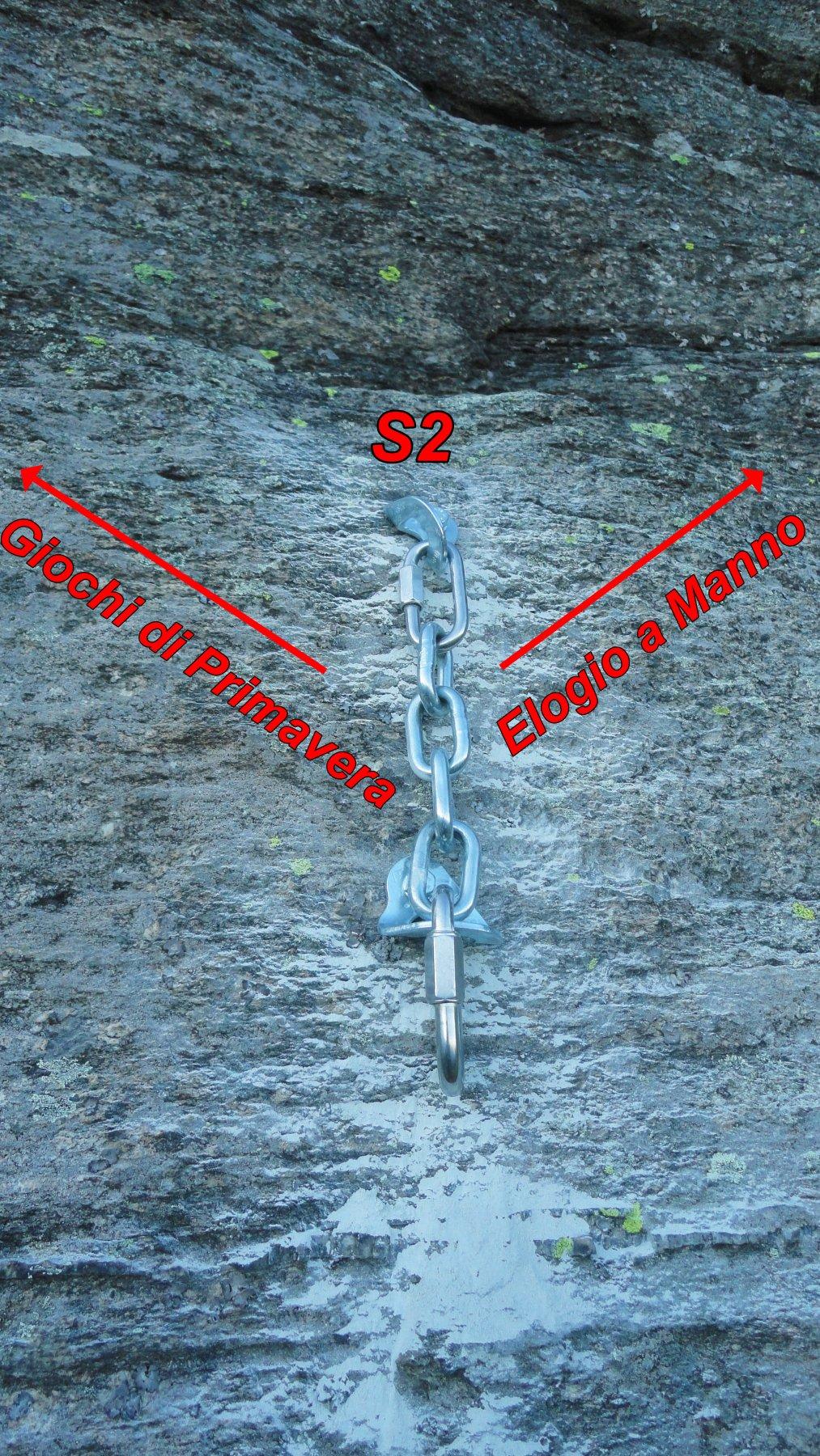 La via termina in S2 e da li vi sono due soluzioni per raggiungere il tratto finale inedito -Genesi atto Finale-..  Sulla dx la soluzione consigliata..