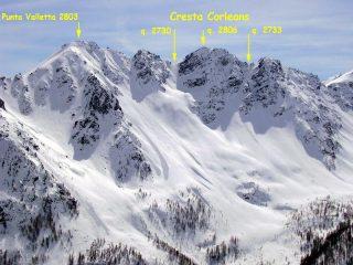 Parte della Cresta Corleans vista dagli impianti di crevacol con quote CTR e l'Escursionista 1/25.000