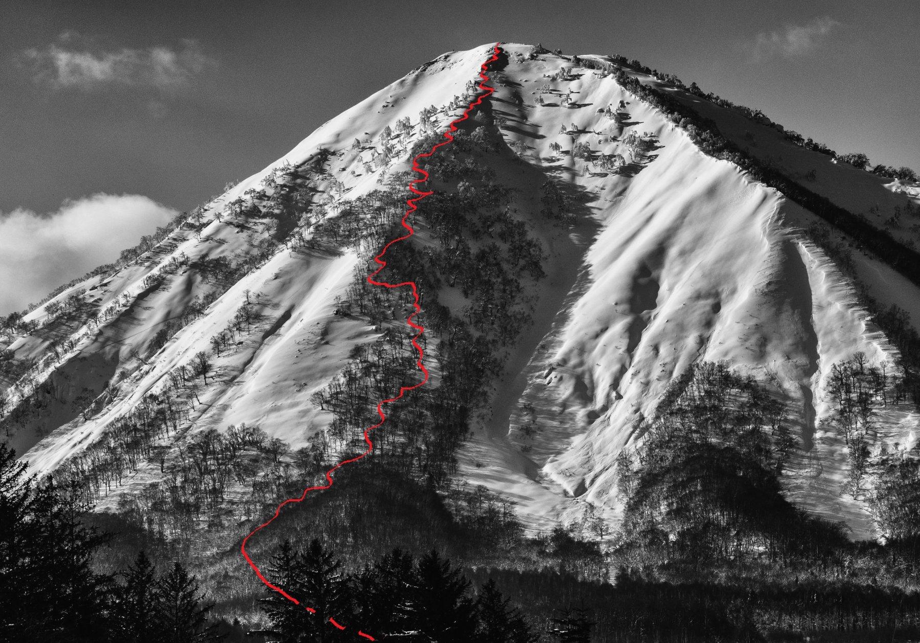 la linea sul versante nord del Shiribetsu