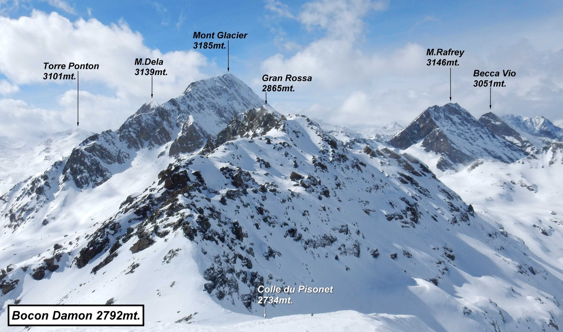 Panorama dalla cima del Bocon Damon verso ovest domina la mole M.Glacier.