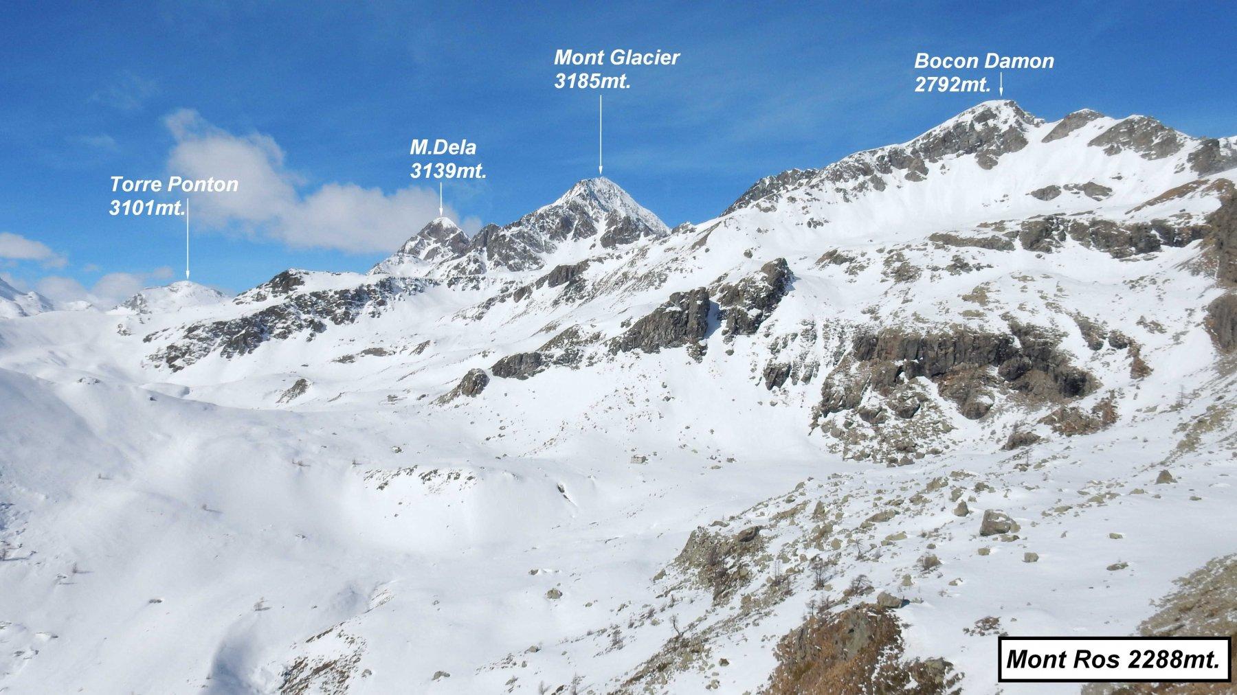 Panorama dal Mont Ros con uno sguardo alla nostra prossima meta, il Bocon Damon.