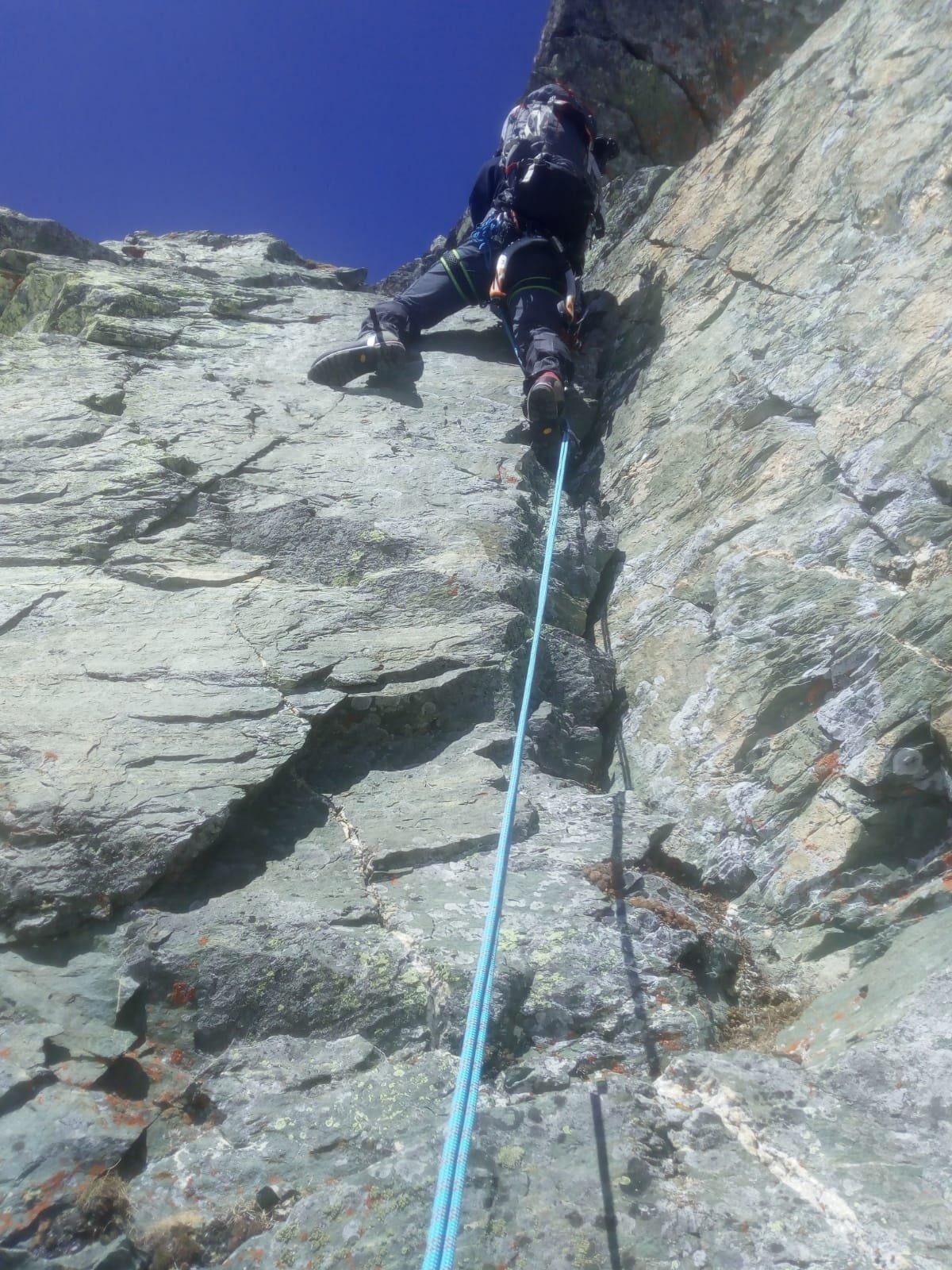 Nel tratto di arrampicata
