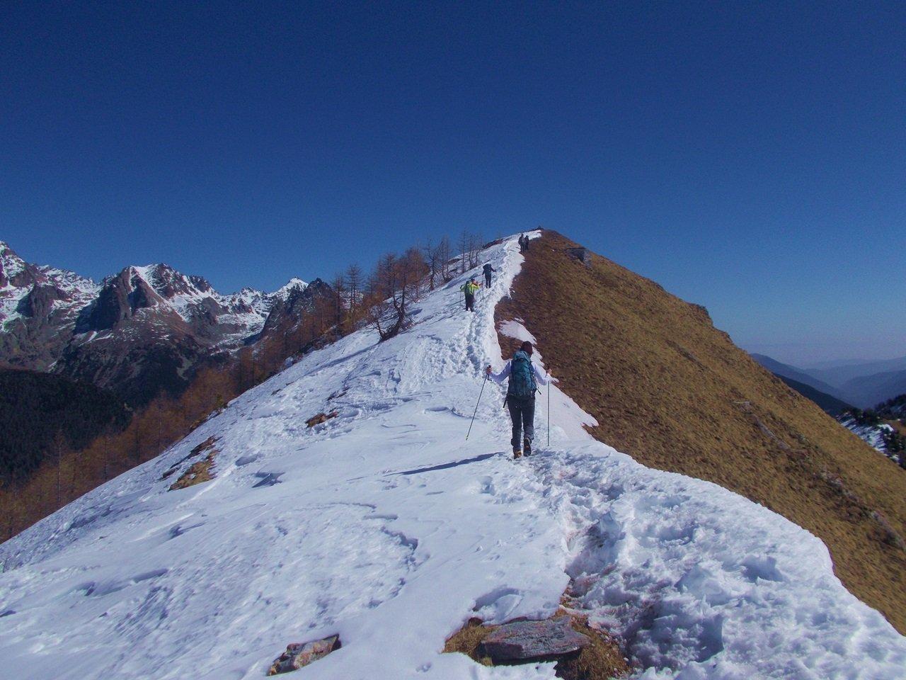 la neve verso la Punta della Battagliola