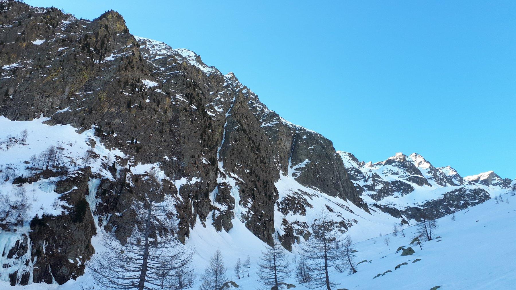 la linea di salita in centro alla foto caratterizzata dalla imponente cascata iniziale