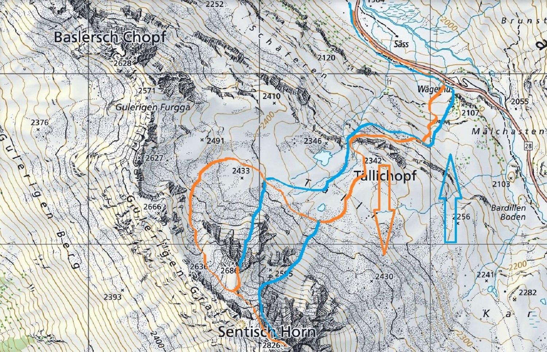 piantina in azzurro le due discese