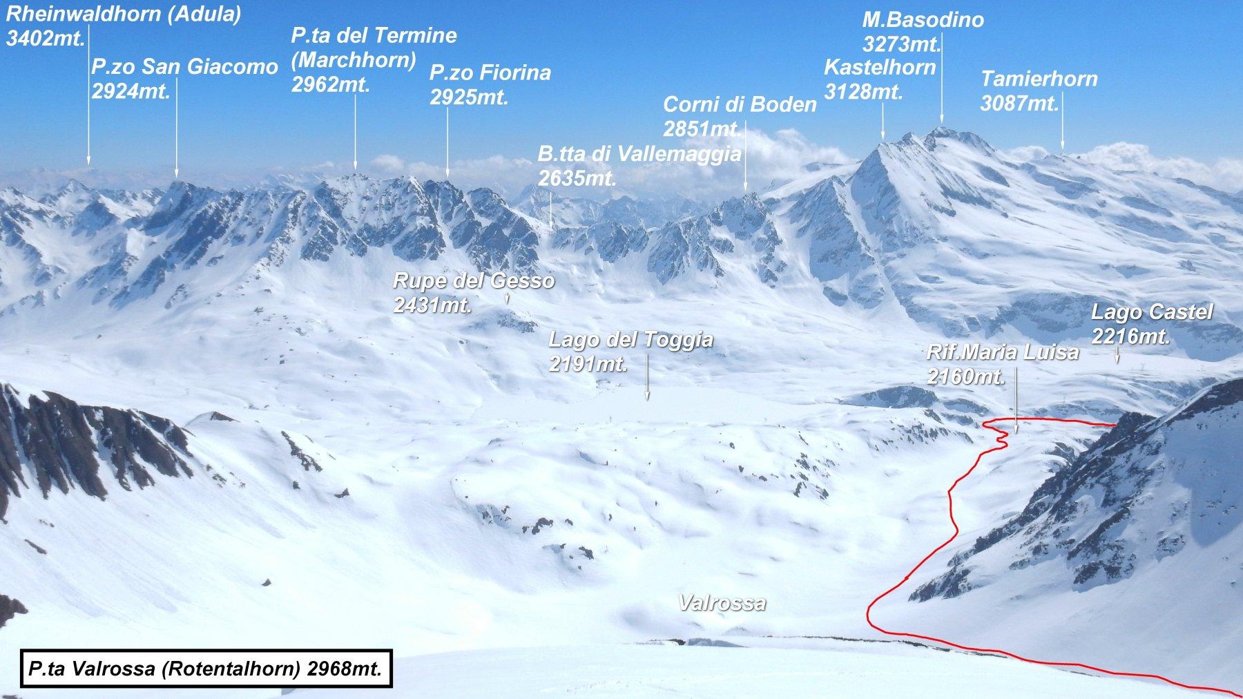 Panorama dalla vetta. In rosso parte del percorso.