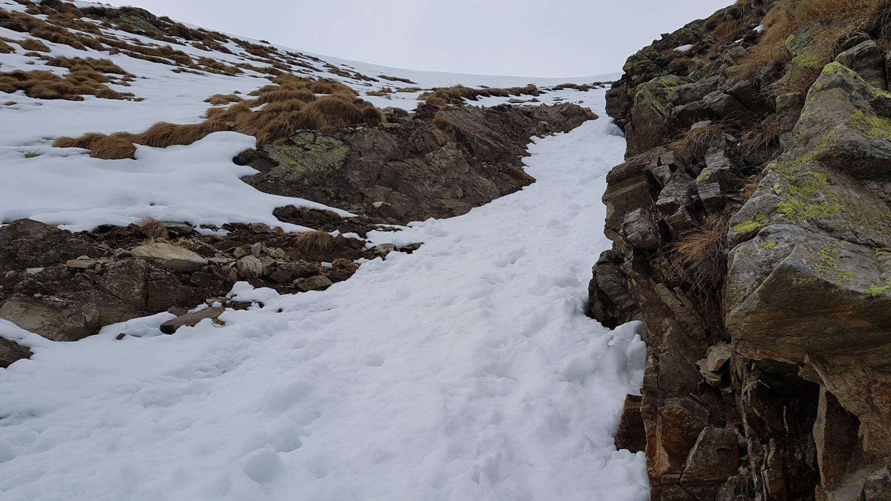 Impluvio da attraversare con neve a quota 2000 m