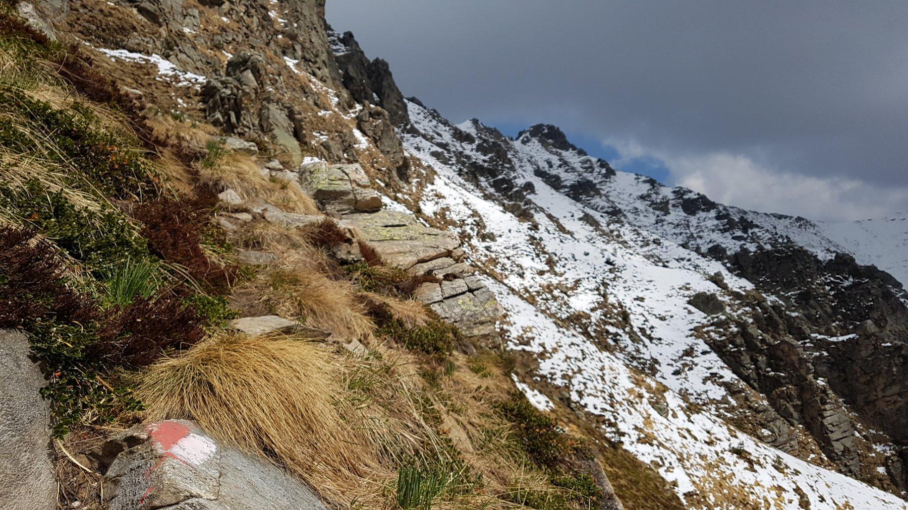 Sentierino tra cengette a quota 1900 circa sotto la bastionata rocciosa