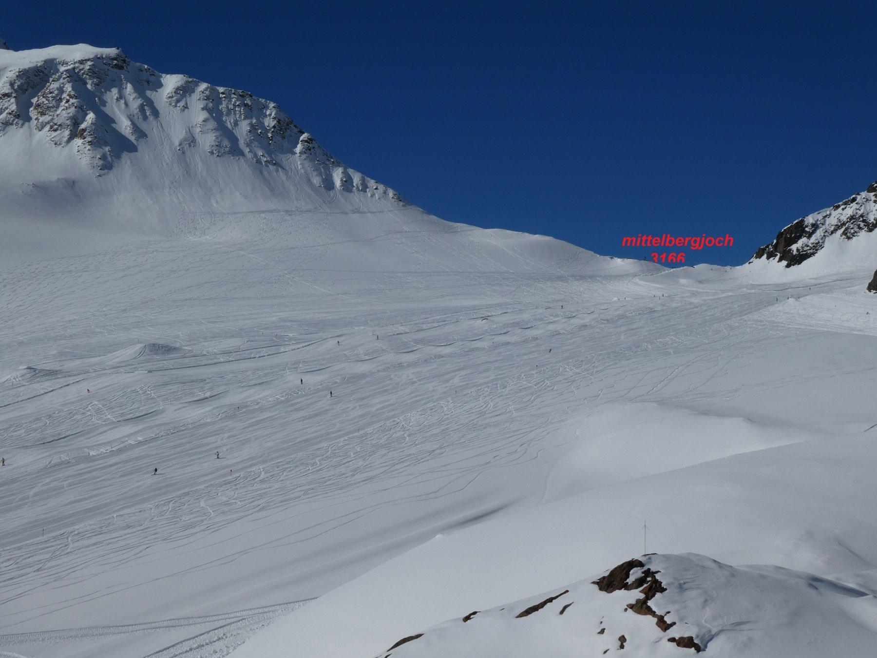 salendo sulla cabinovia in fondo il passaggio dalle piste al tratto scialpinistico