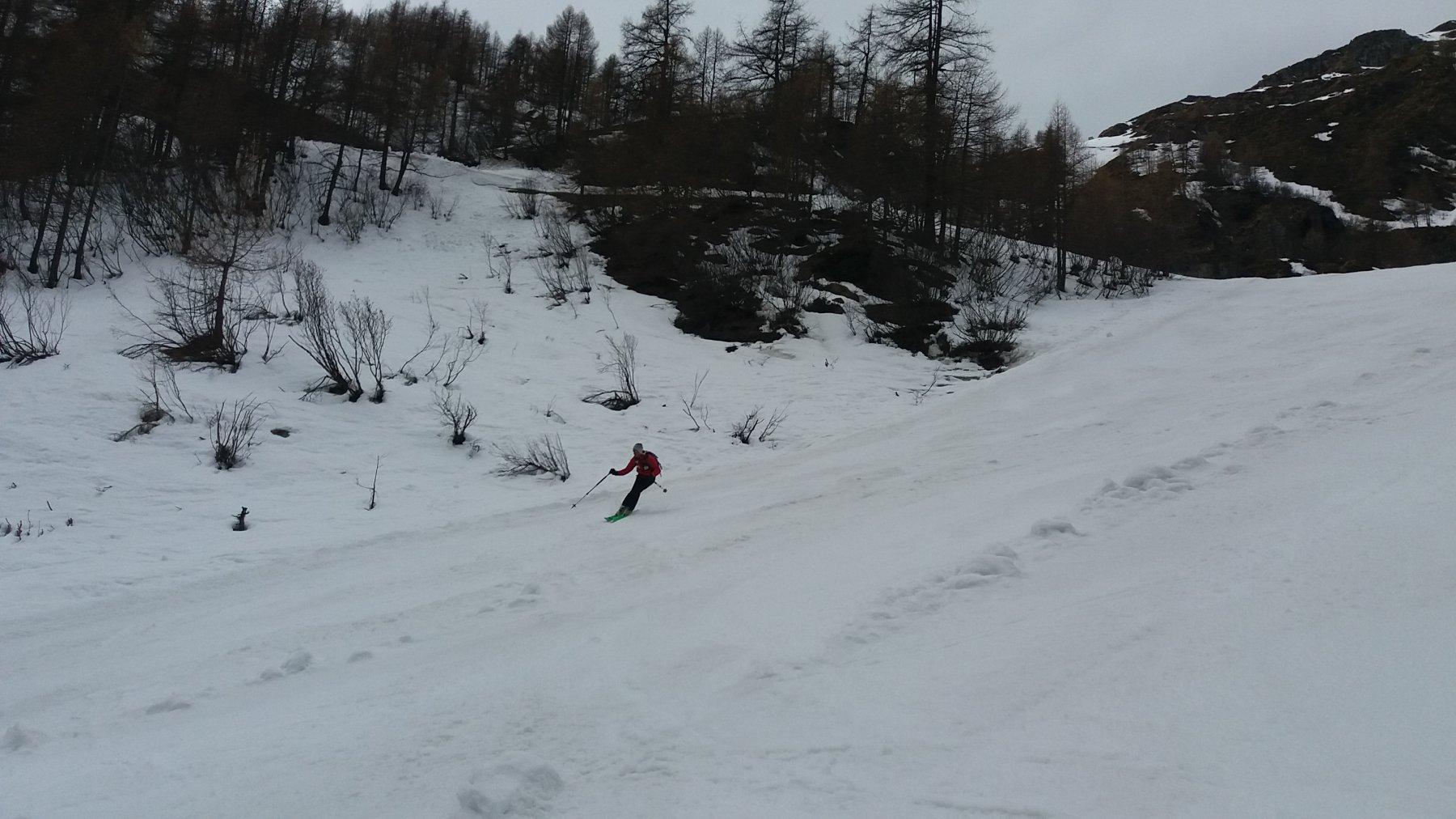 Discesa su neve primaverile molto divertente