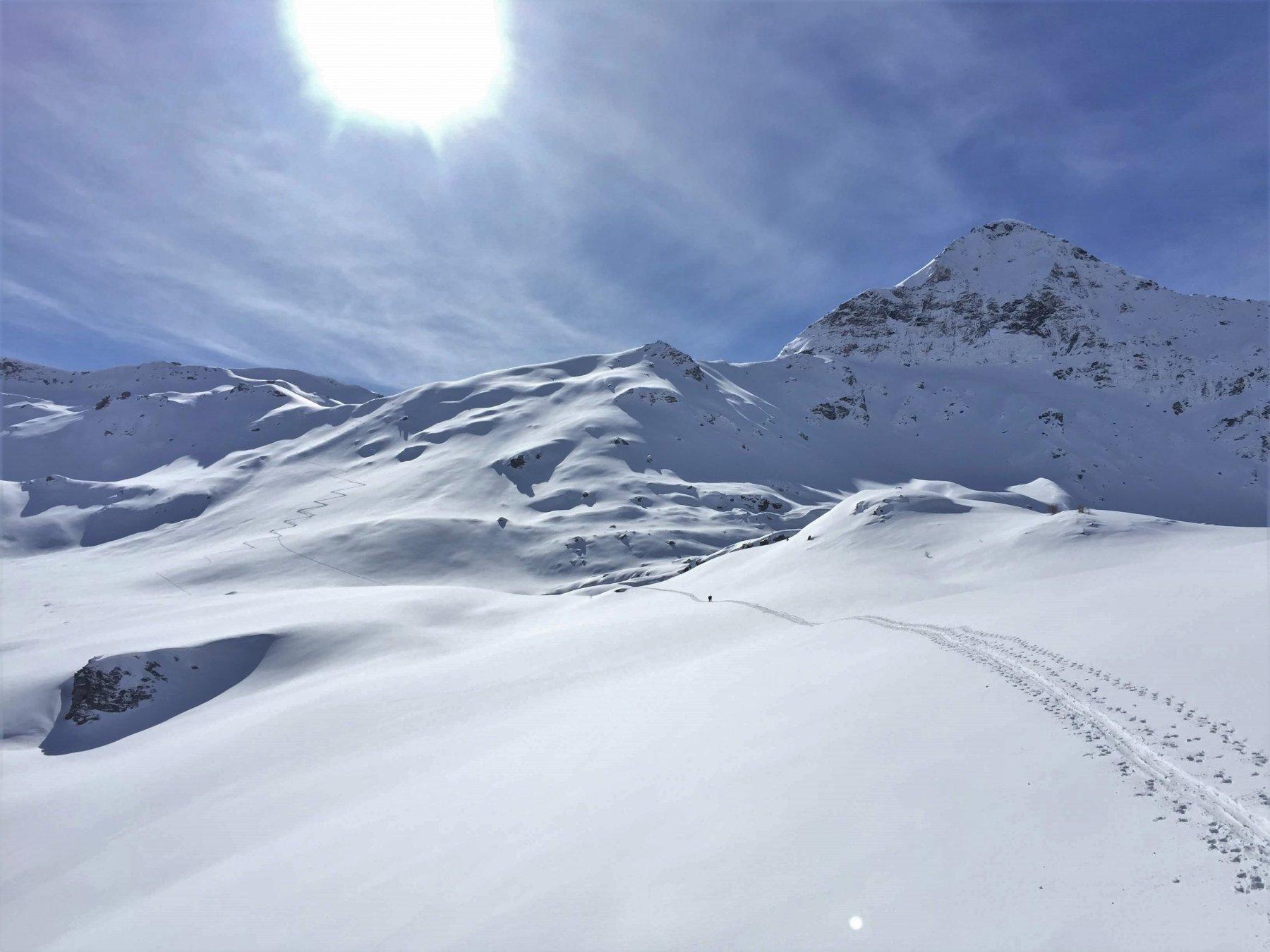 il vallone di avvicinamento, la traccia che rimonta il pendio che conduce al ghiacciaio e la nostra meta in alto a destra. Giornata spettacolare