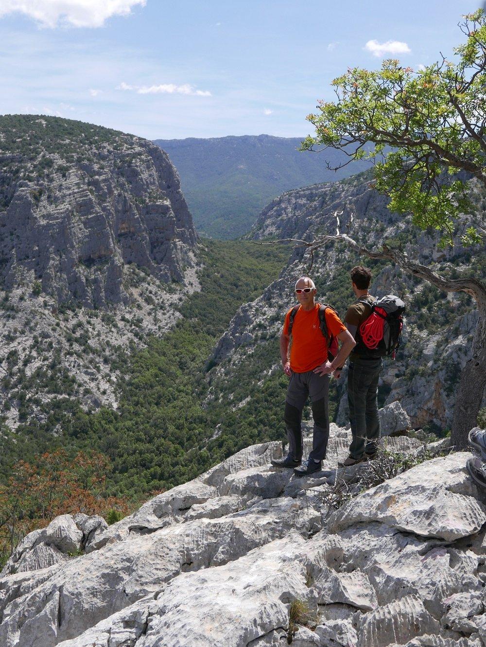 Il Doloverre di Surtana visto dal bordo della dolina di Tiscali (l'VIII pilastro è quello più a monte, che si vede interamente di profilo)