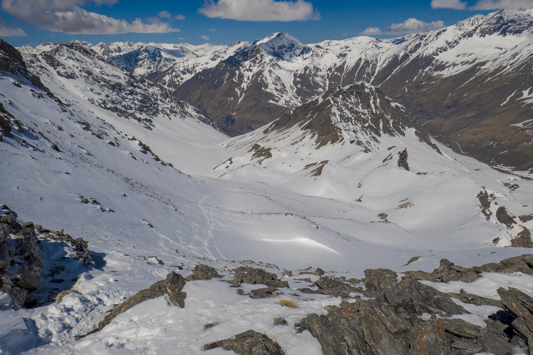 La vista dalla cima verso il versante di risalita