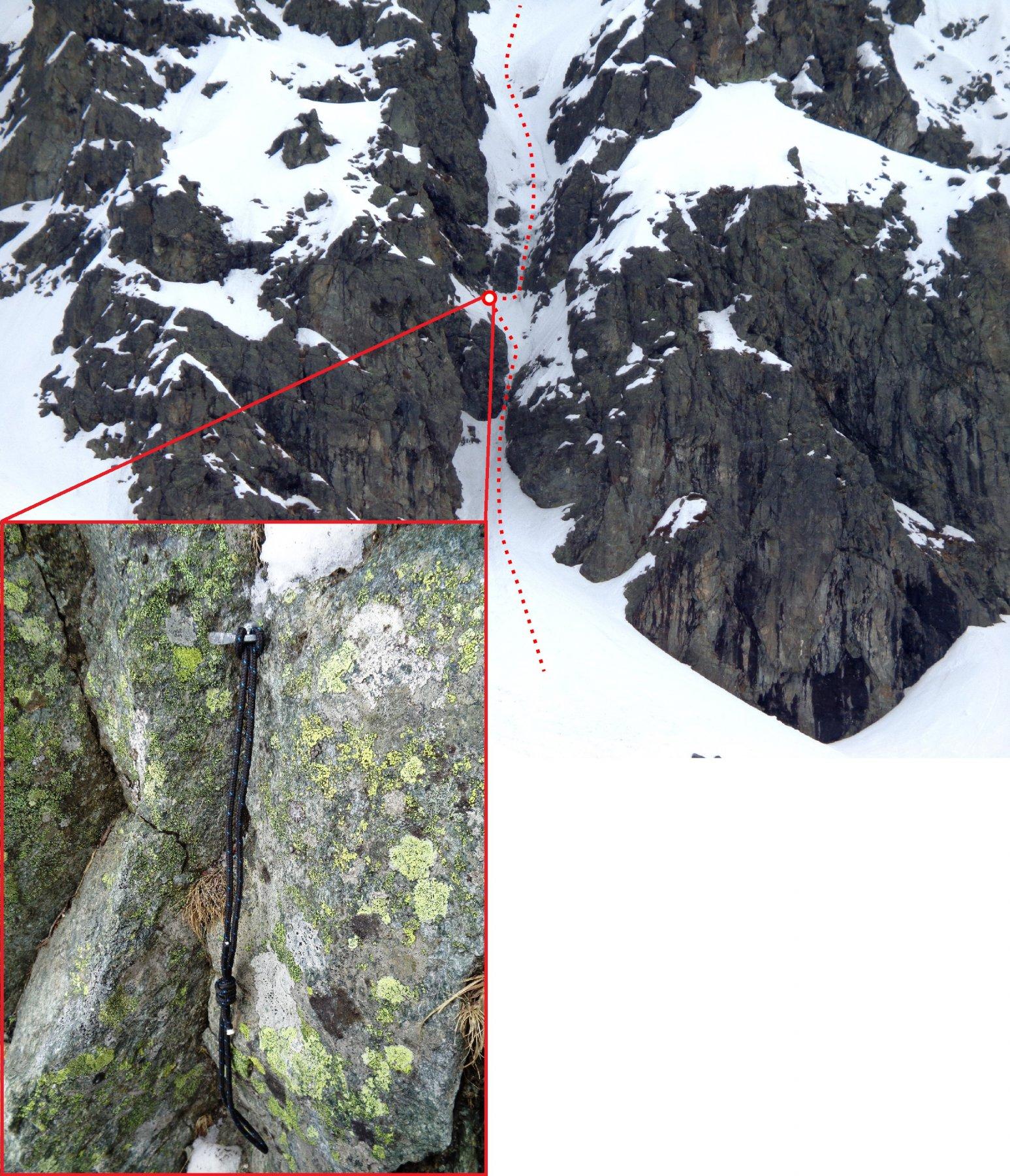Parte bassa del percorso (il pallino indica la posizione del ch. di sosta nel dettaglio)