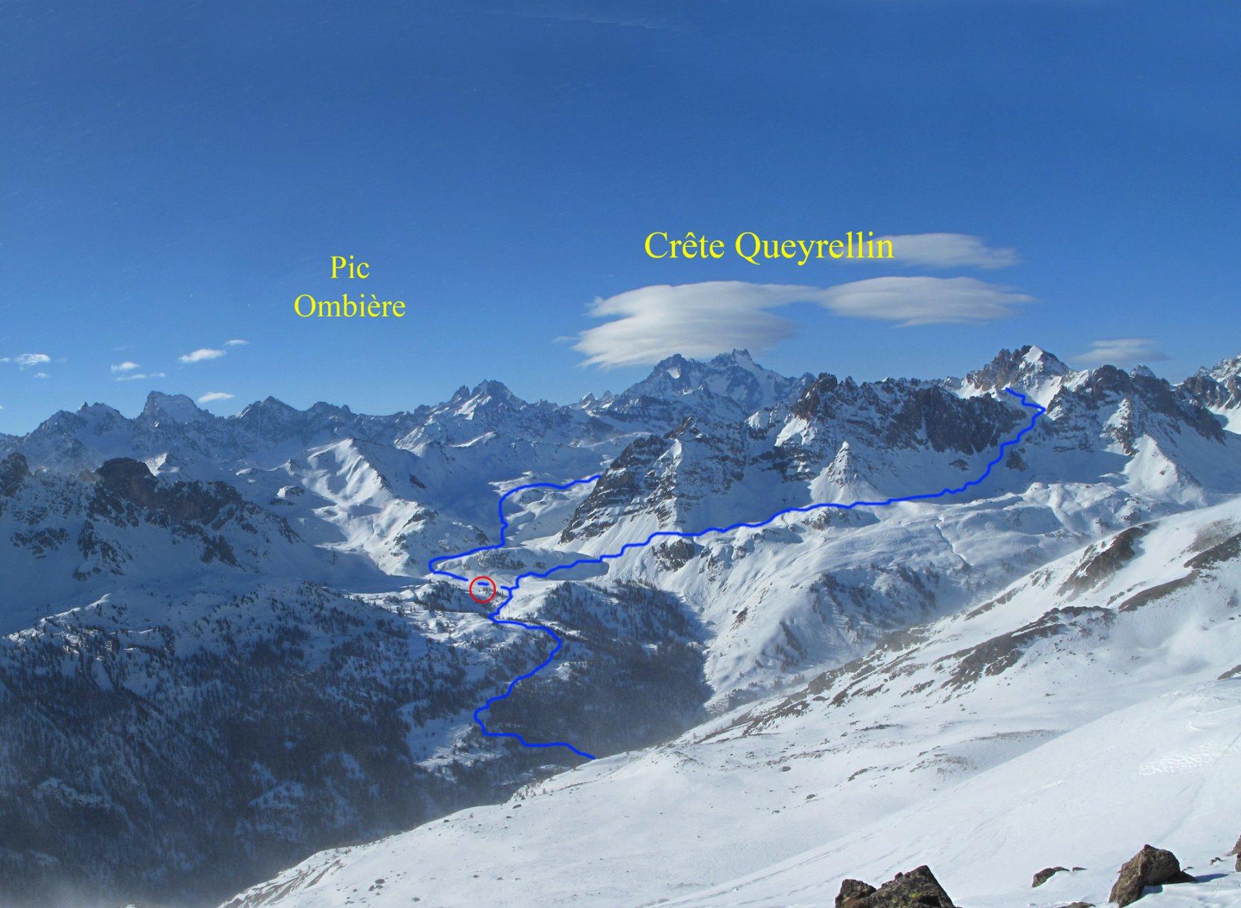 L'itinerario visto dalla Crête de Mome