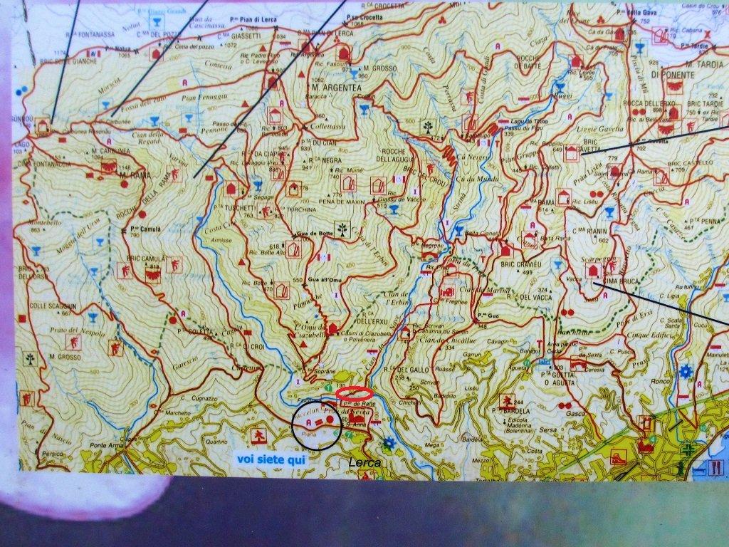 Cartina in bacheca, partenza cerchiata in rosso