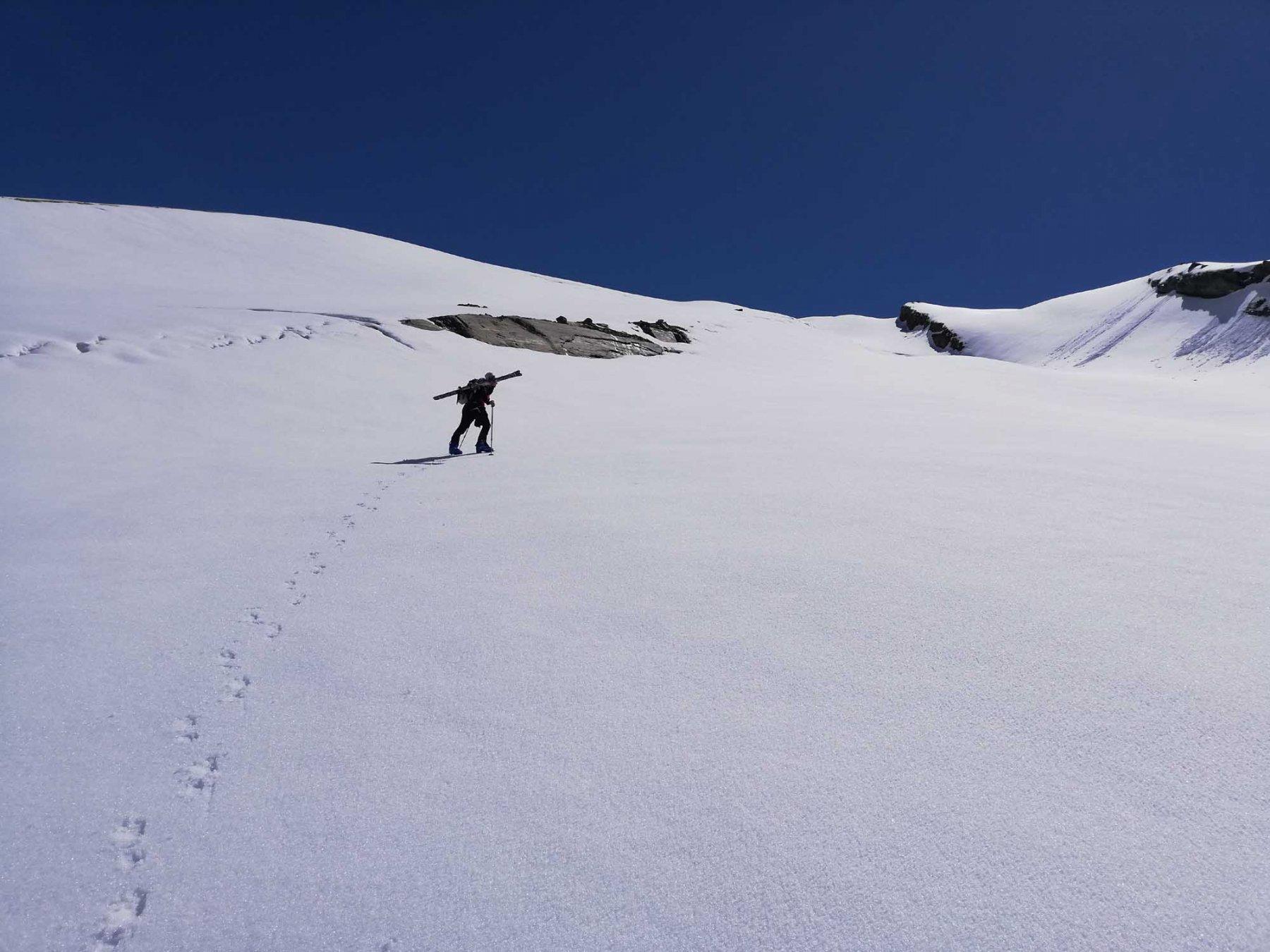 Uscendo dalla rampa verso il ghiacciaio du Mulinet