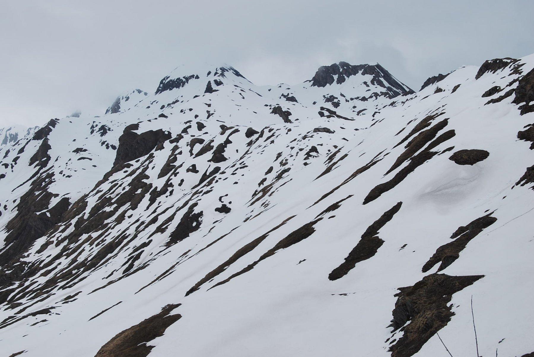 Per Monica. Nascosti da nuvole e neve: Creton du Midi, quota 3047 e Gran Creton.