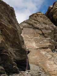 Uno dei diedri sotto la cima del Furggen