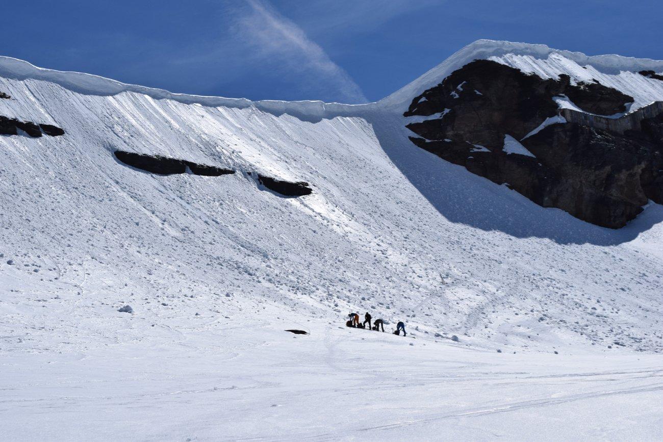 il pendio adducente al colle a 3420m