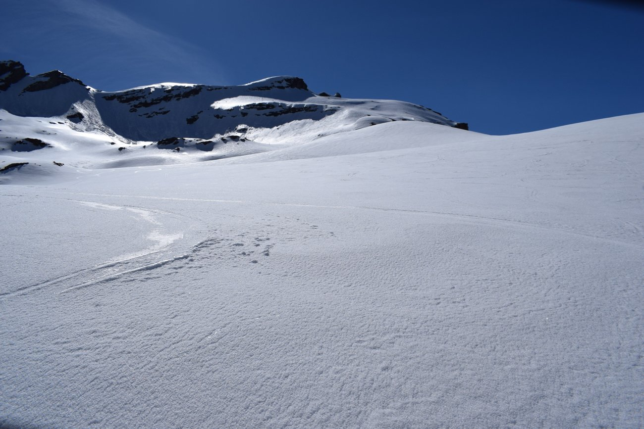 i pendii superiori in vista della cima