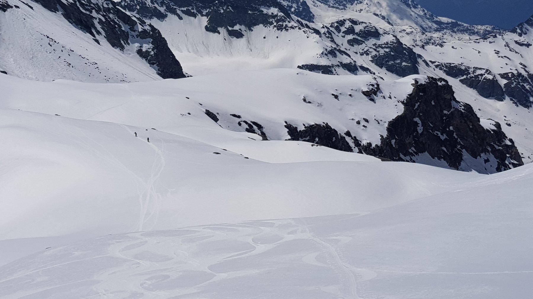 In discesa, intorno ai 3000 mt: si vede il bellissimo firn