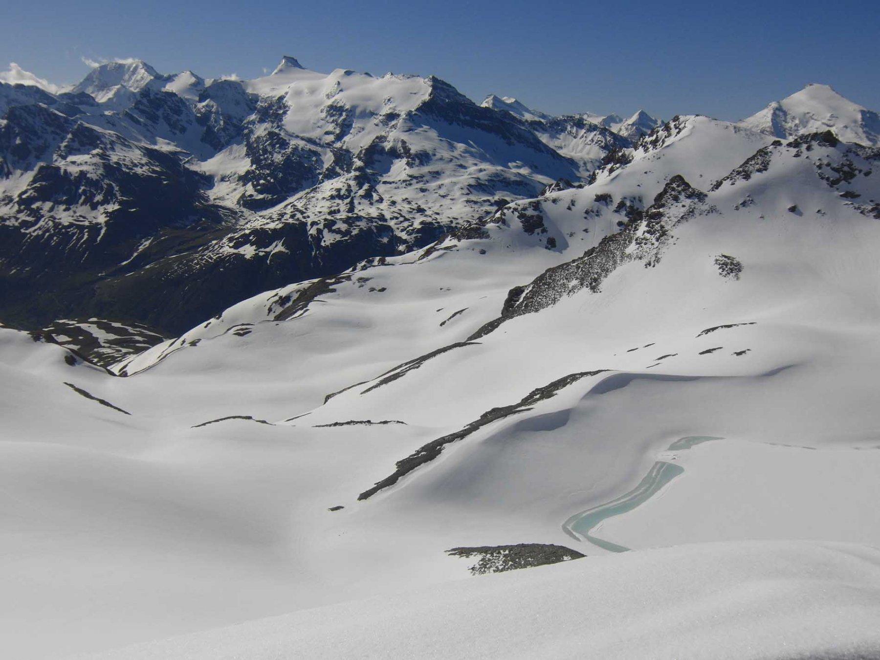 Dal Pelaou Blanc vista su Ciama, Albaron e Charbonnel