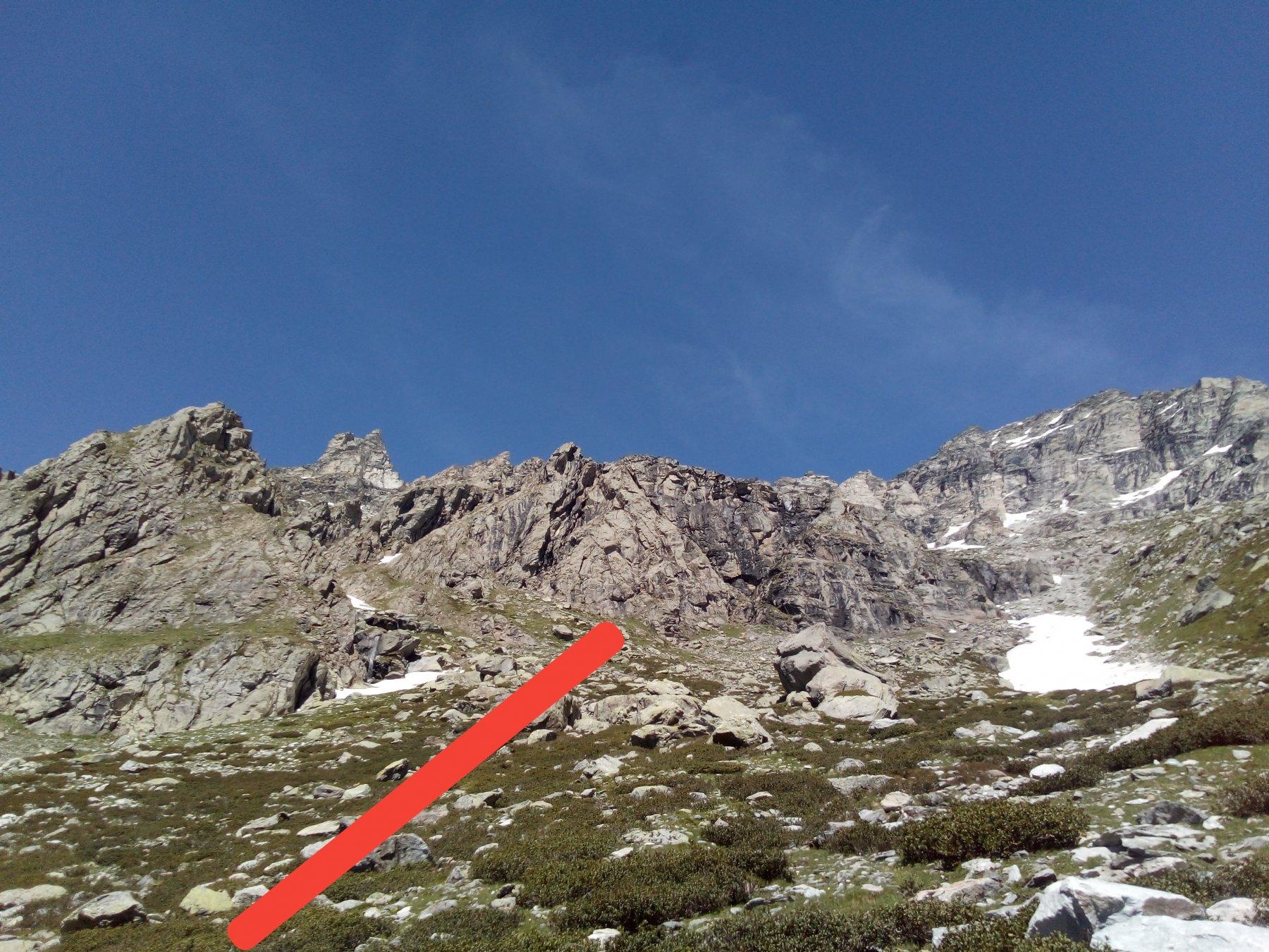 La parete vista dal piano, in rosso la direzione di salita e il punto di attacco