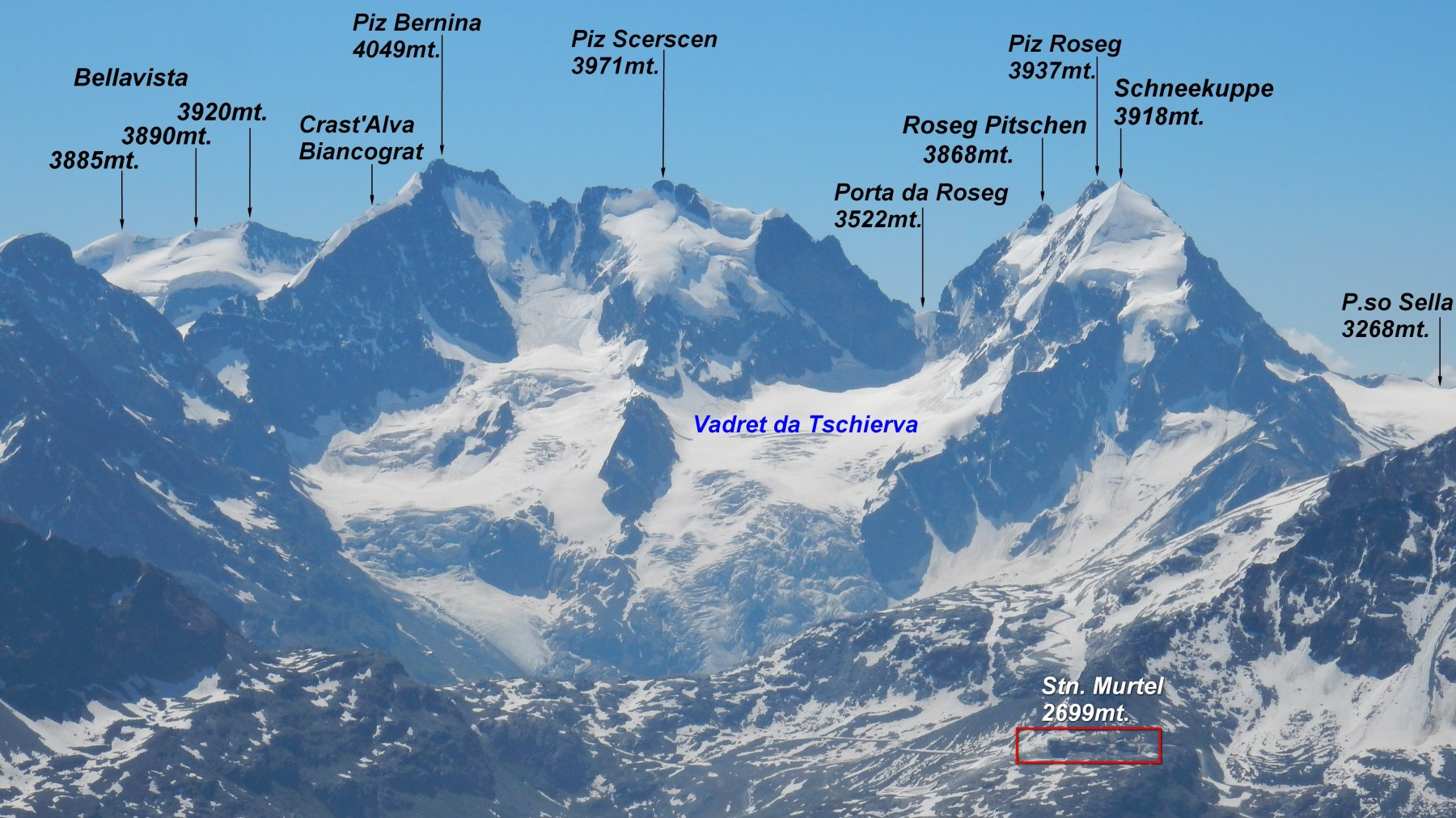 Panorama sul gruppo del Bernina zoomato.