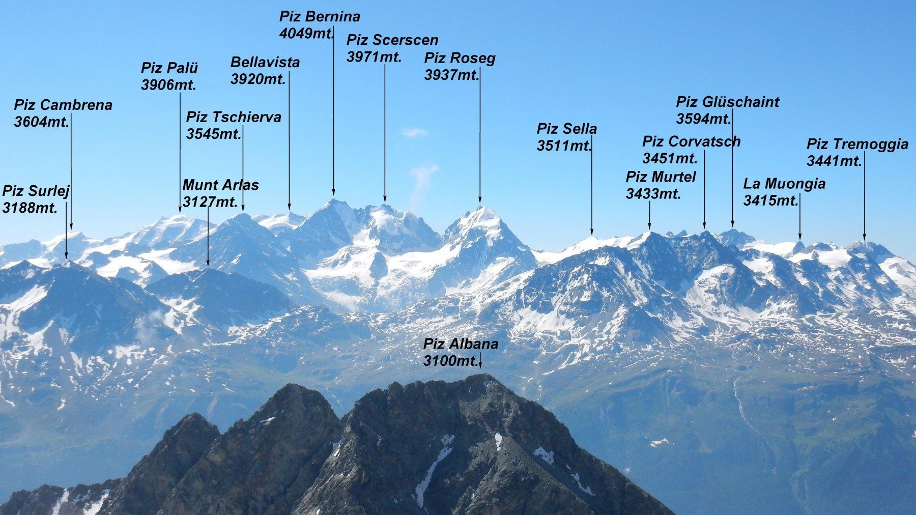 Panorama sul gruppo del Bernina.
