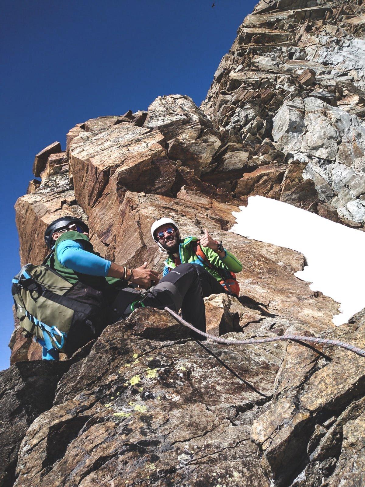 Io e Andrea durante la salita in Cresta prima della Vincent!