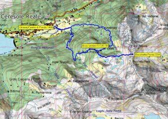 mappa con traccia GPS. Sentiero 517 a ovest, 517B a est.