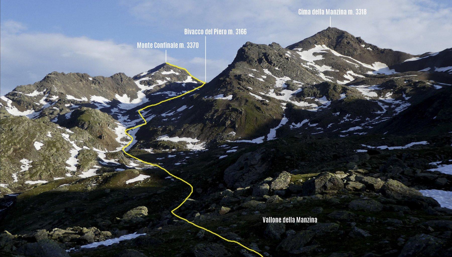 itinerario di salita osservato dai pressi del Lago della Manzina