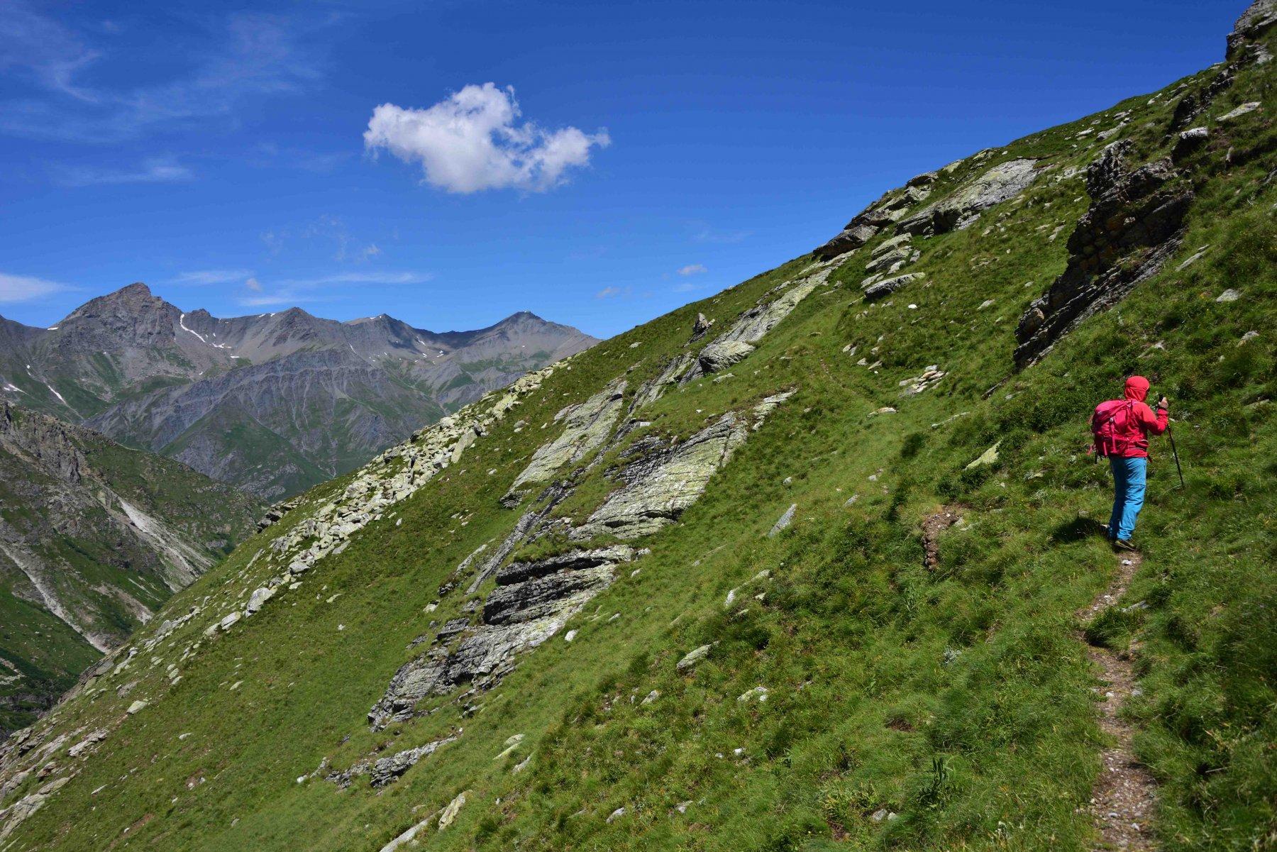 Il sentiero che risale il versante Ovest della Testa Rasis