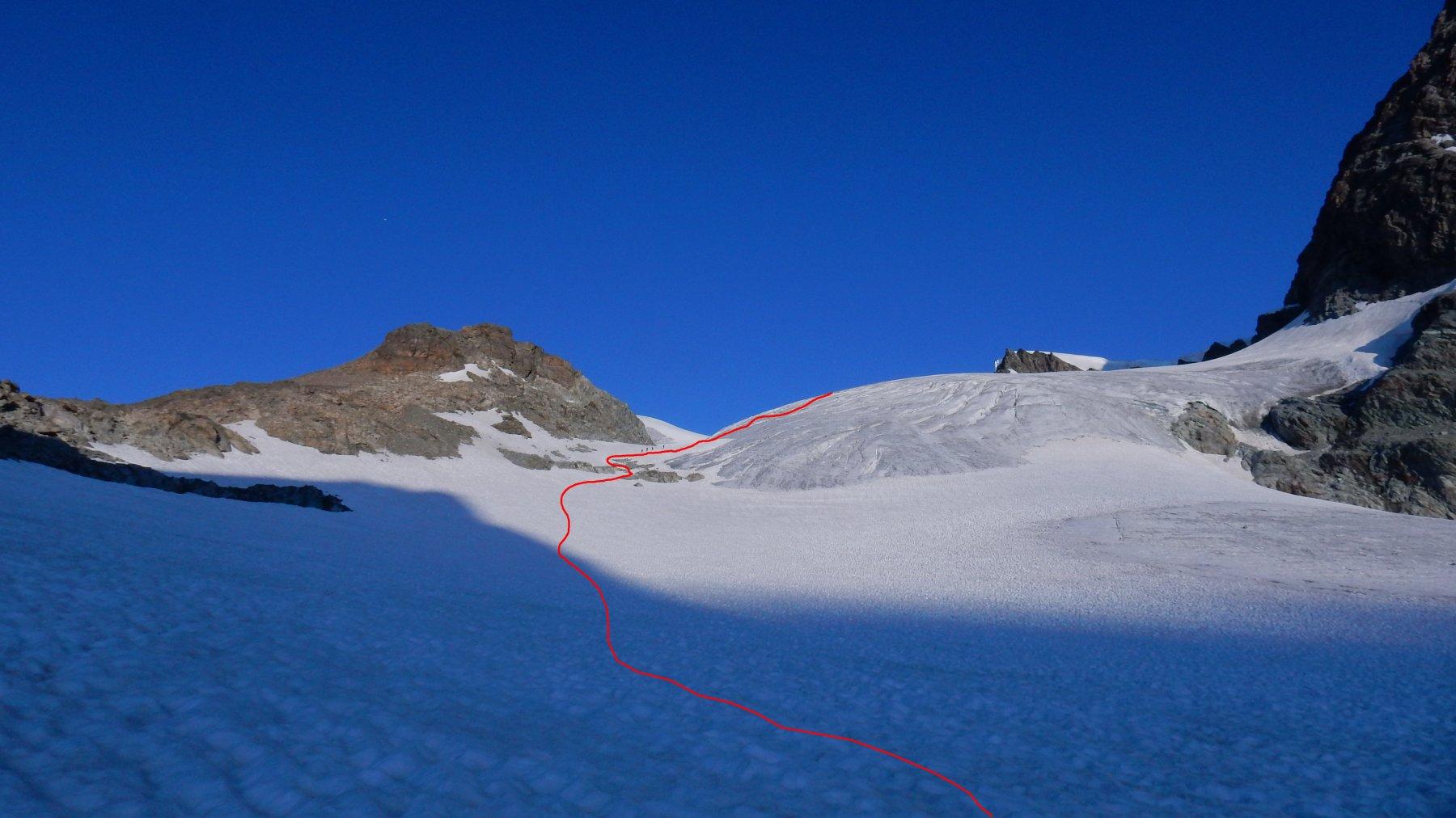 In rosso la traccia di salita sul primo tratto di ghiacciaio.