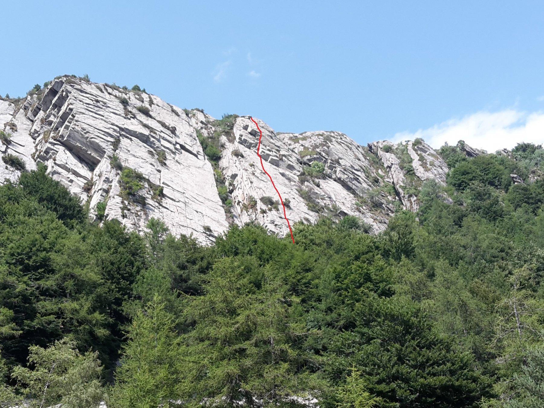la linea approssimativa di arrampicata