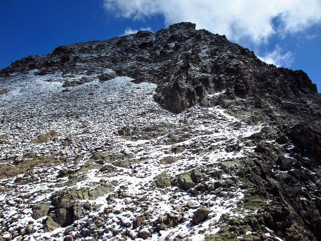 Come si presenta il versante nord il 16-7-2019 del Becco Alto del Piz