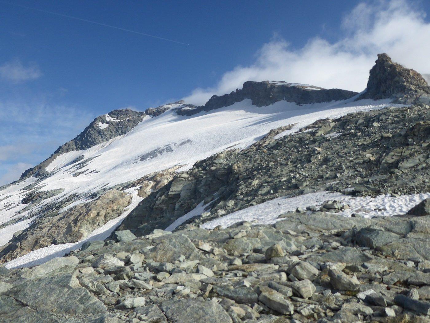 Il Mont Gelé dal Colle, durante una breve ed illusoria schiarita.