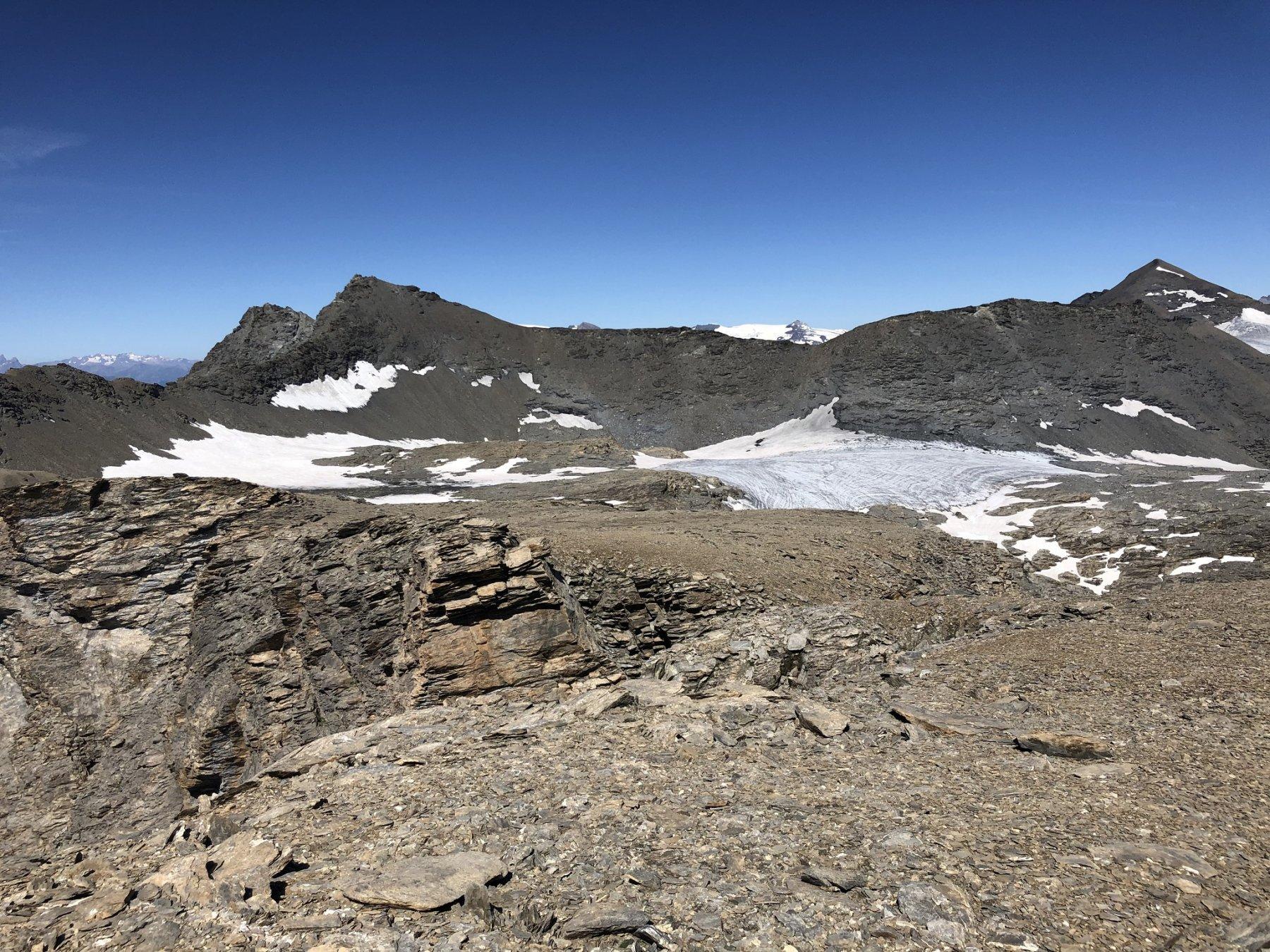 Il plateau dove sorgeva l'ex ghiacciaio della Roche Michel