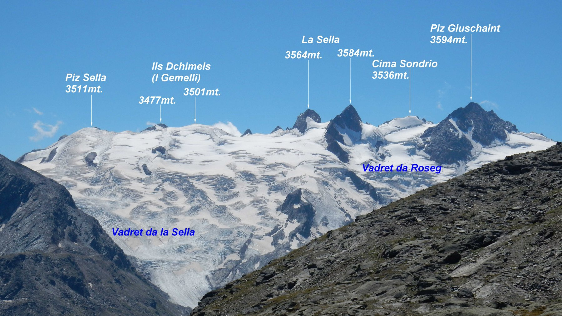 Panorama dalla Fuorcla Surlej 2755mt. sul Gruppo Glüschaint.