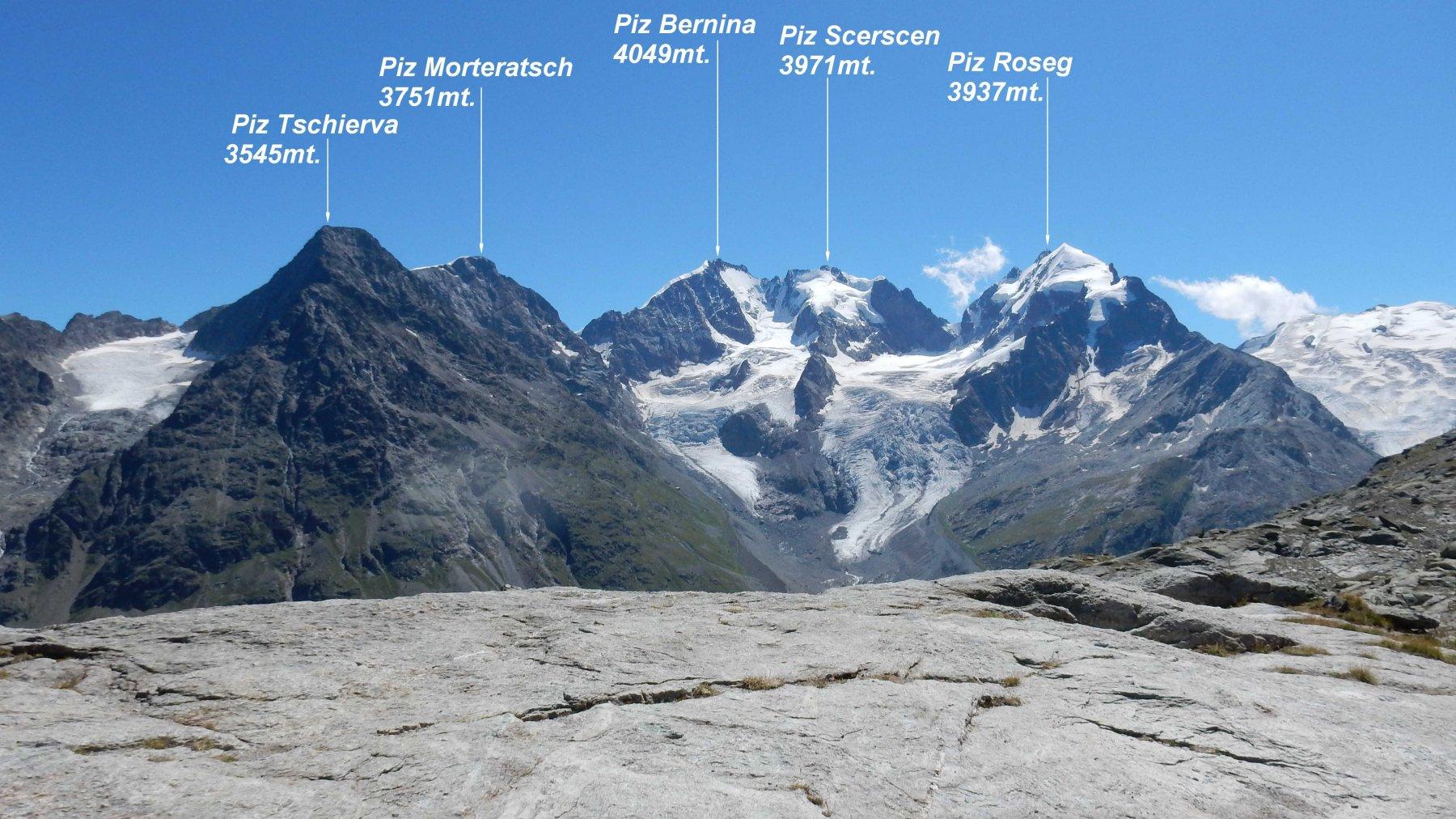 Panorama dalla Fuorcla Surlej 2755mt. sul Gruppo Bernina.