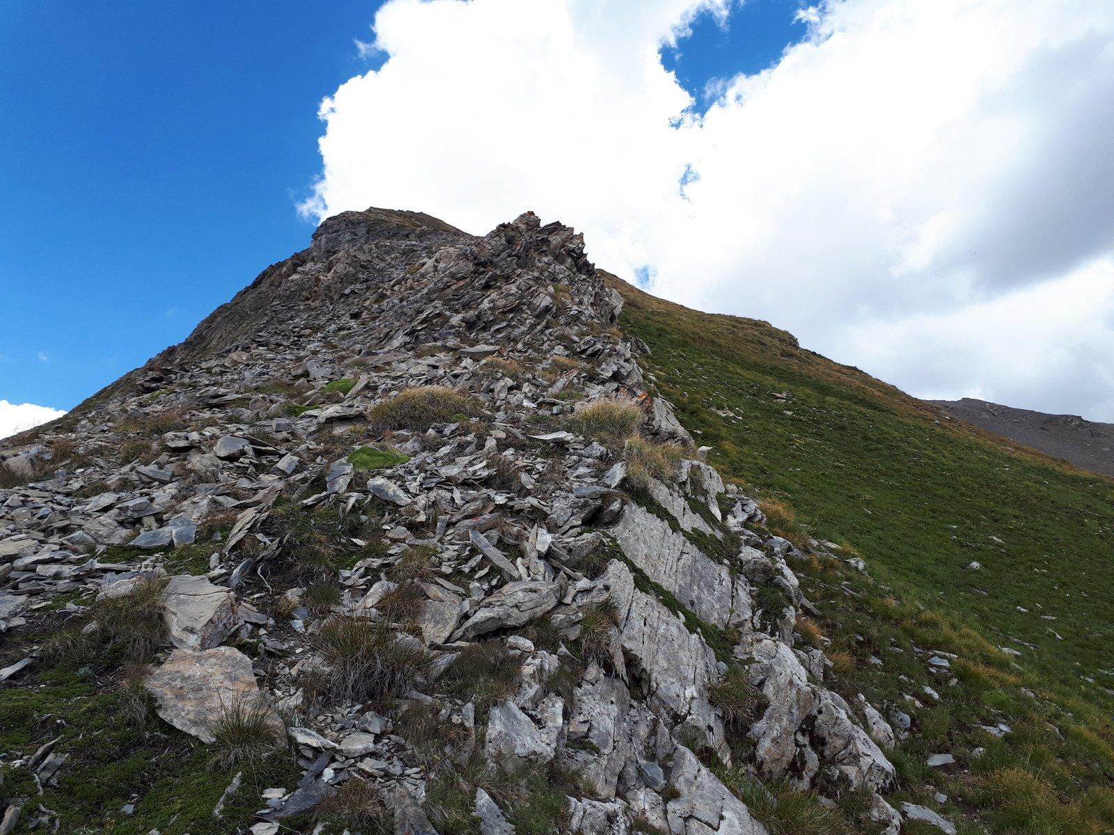 Un affioramento roccioso alla base della cresta