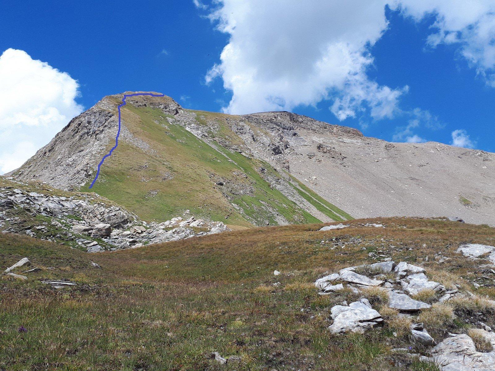 Il tratto ripido di cresta e a destra la Fornet come appare da sopra l'Alpe Crotti