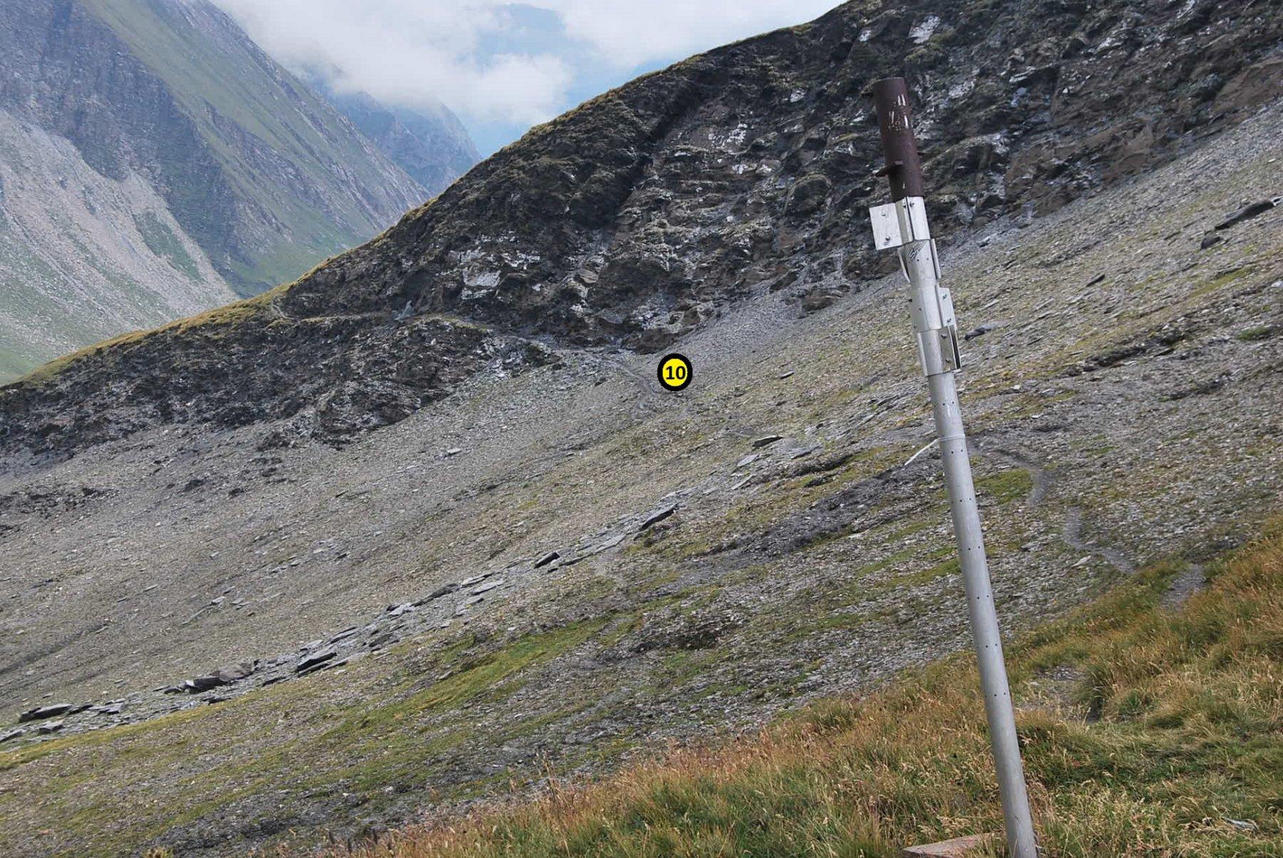 Il sentiero 10 visto alla partenza dal Colle di Youla